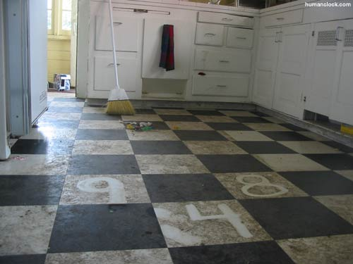dirty kitchen floor - wood floors
